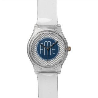 Marina de guerra y monograma gris del personalizad reloj de mano