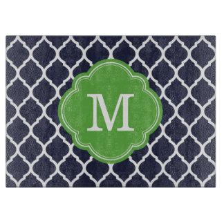 Marina de guerra y monograma verde del tabla de cortar