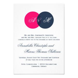 Marina de guerra y monogramas gemelos de las rosas invitación 12,7 x 17,8 cm