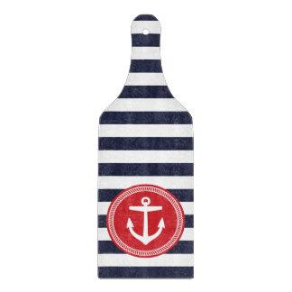 Marina de guerra y rayas y ancla náuticas de muy tablas de cortar
