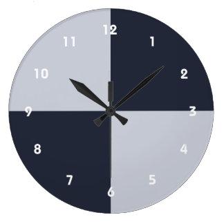 Marina de guerra y rectángulos grises reloj redondo grande