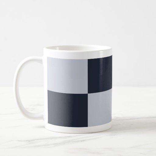 Marina de guerra y rectángulos grises tazas de café