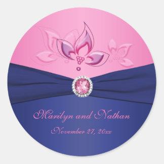 """Marina de guerra y rosa 1,5"""" floral pegatina"""