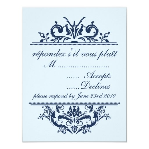 """Marina de guerra y tarjeta azul claro de RSVP Invitación 4.25"""" X 5.5"""""""