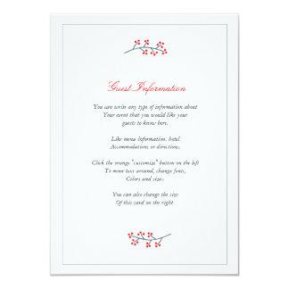 Marina de guerra y tarjeta floral roja del parte invitación 11,4 x 15,8 cm