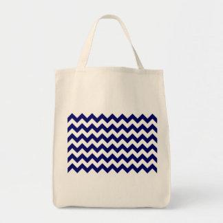 Marina de guerra y zigzag blanco bolsa tela para la compra
