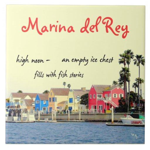 Marina del Rey Fishing Haiku Decorative Tile