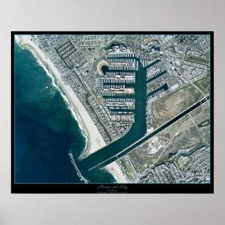 Marina Del Rey Los Ángeles poster del satélite de