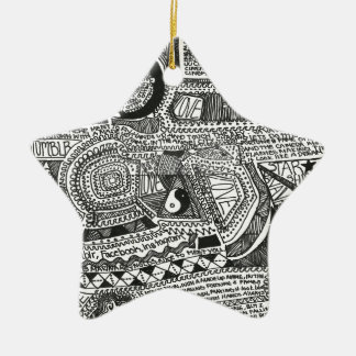Marina Designs Double-Sided Star Ceramic Christmas Ornament