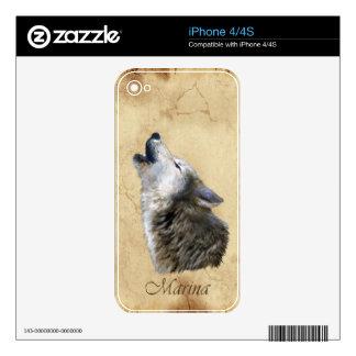 MARINA Howling Grey Wolf  Wildlife iPhone 4 Skin