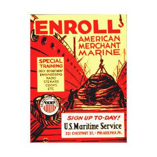 ¡Marina mercante americana - aliste hoy! Impresiones En Lona
