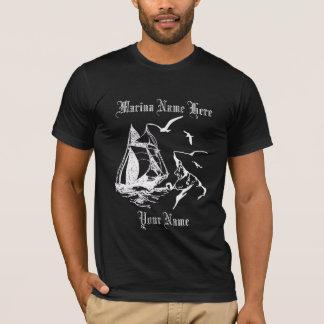 Marina Sailboat Sailor Mens Black Custom T-shirt