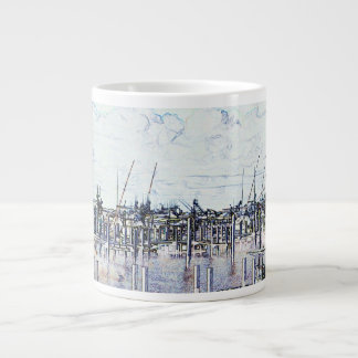 Marina Solarized Invert Boat Photograph Giant Coffee Mug