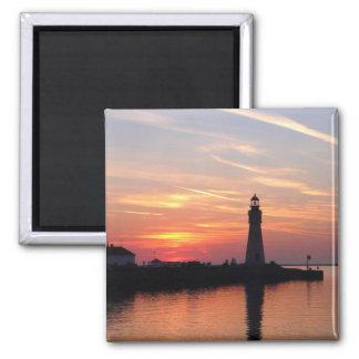 Marina Sunset 2 Inch Square Magnet