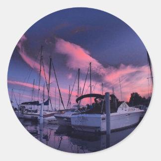 Marina Sunset HDR Classic Round Sticker