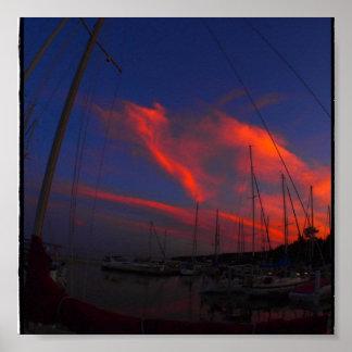 Marina Sunset Poster