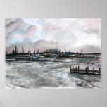 marina sunset seascape sailboats painting print
