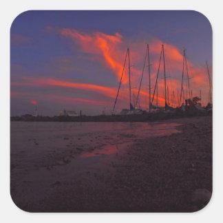 Marina Sunset Square Sticker
