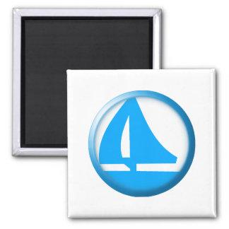 Marina Symbol - Sailboat 2 Inch Square Magnet