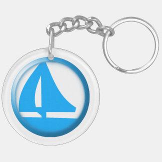 Marina Symbol - Sailboat Double-Sided Round Acrylic Keychain