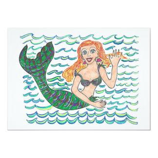 """Marina The Mermaid 5"""" X 7"""" Invitation Card"""