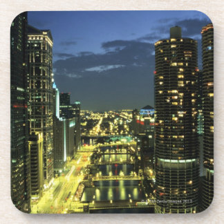 Marina Towers, Chicago River, Wacker Drive, Beverage Coaster