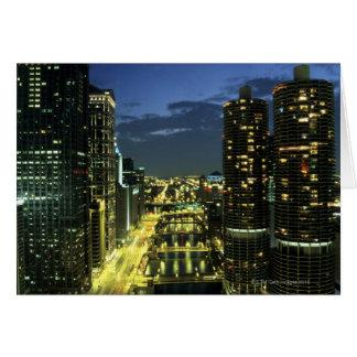 Marina Towers, Chicago River, Wacker Drive, Card