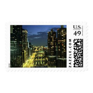 Marina Towers, Chicago River, Wacker Drive, Postage