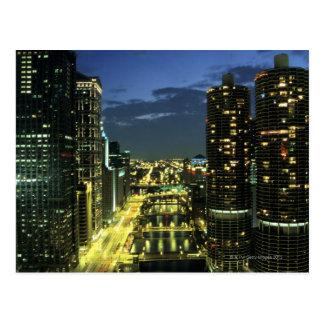 Marina Towers, Chicago River, Wacker Drive, Postcard