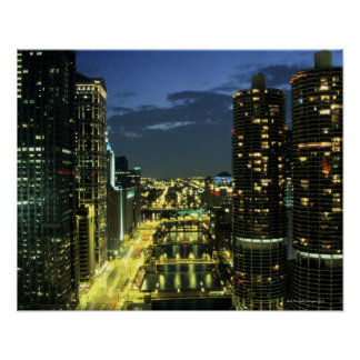 Marina Towers, Chicago River, Wacker Drive, Poster