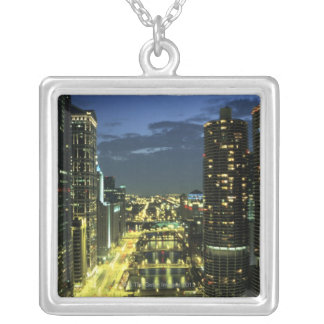 Marina Towers, Chicago River, Wacker Drive, Silver Plated Necklace