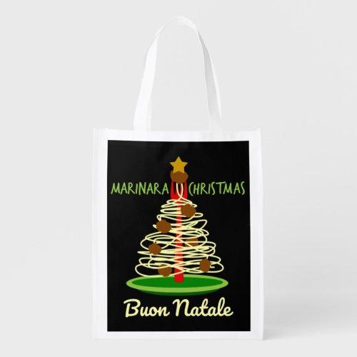 Marinara Christmas Buon Natale Spaghetti and Meatballs Pasta Tree Grocery Bag