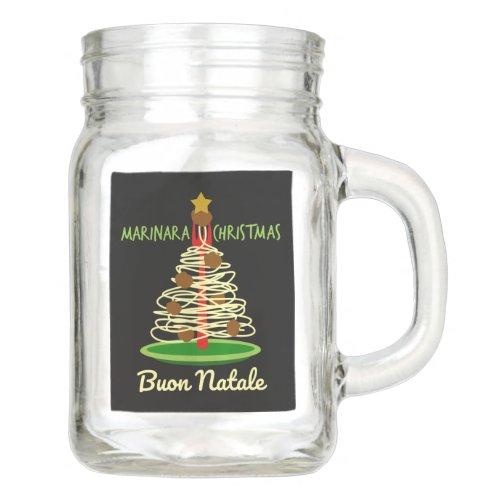 Marinara Christmas Buon Natale Spaghetti and Meatballs Pasta Tree Mason Jar