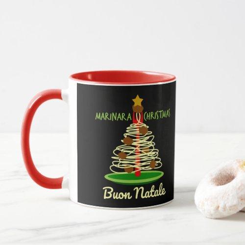 Marinara Christmas Buon Natale Spaghetti and Meatballs Pasta Tree Coffee Mug