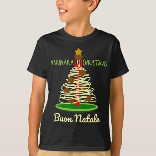 Marinara Christmas Buon Natale Spaghetti and Meatballs Pasta Tree T-Shirt
