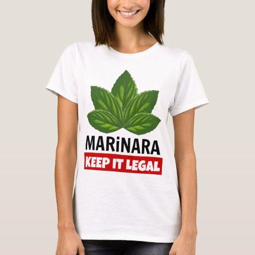 Marinara Keep it Legal Basil Leaves Food Humor T-Shirt Legalize Marinara