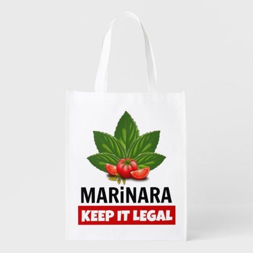 Marinara Keep it Legal Basil Leaves Tomatoes Grocery Tote Bag Legalize Marinara