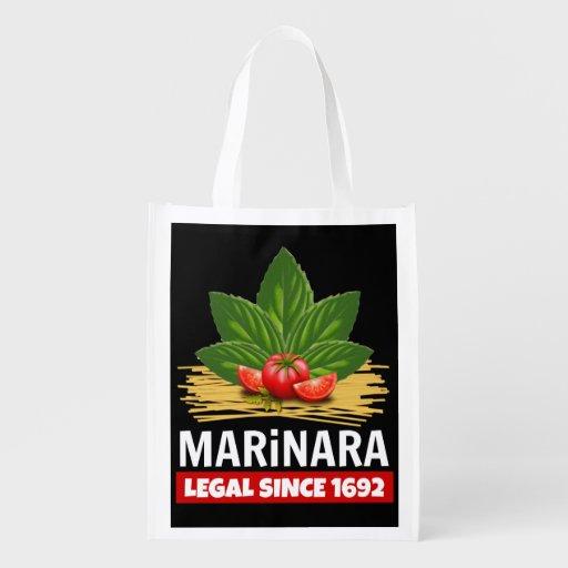 Marinara Legal Since 1692 Basil Tomatoes Spaghetti Grocery Tote Bag Legalize Marinara