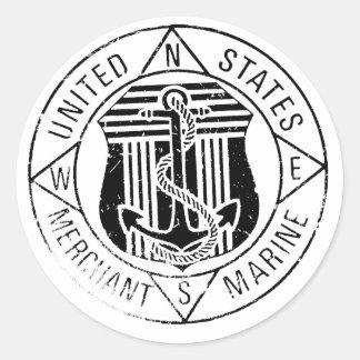 Marinas mercantes de los E.E.U.U. cerca: David Lee Etiquetas Redondas