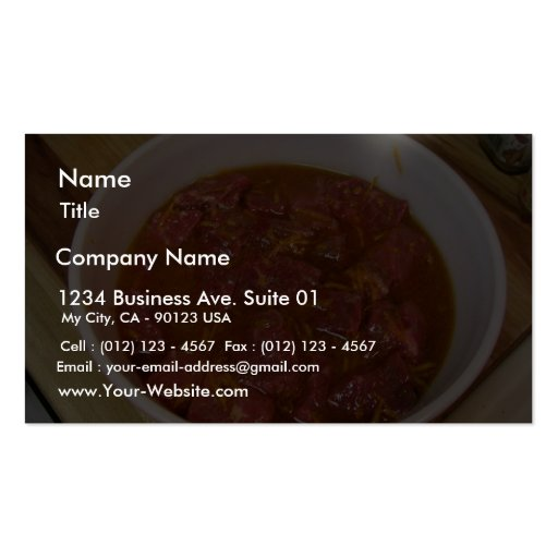 Marinated Beef Ready For Cooking Double-Sided Standard Business Cards (Pack Of 100)