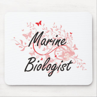 Marine Biologist Artistic Job Design with Butterfl Mouse Pad