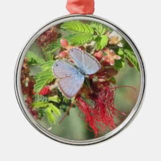 Marine Blue Butterfly Metal Ornament