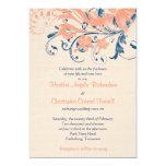 Marine Blue Coral Peach Floral Wedding Invitation