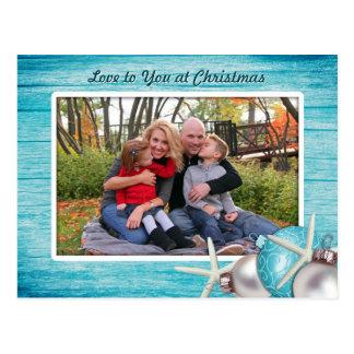 Marine Blue Custom Photo Christmas Postcard
