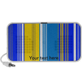 Marine blue gray and yellow stripes travelling speakers