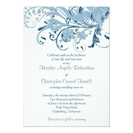 Marine Blue Ivory Floral Wedding Invitation