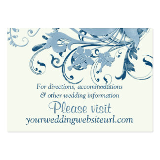 Marine Blue Ivory Floral Wedding Website Insert Business Card Templates