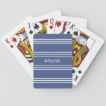 "Marine Blue Stripes custom monogram playing cards<br><div class=""desc"">Change the text field to what you want. You can change the font and its size and color by using the &quot;Customize it&quot; function,  as well as change the background color of this item to any color of your choice. See my store for more items with this design.</div>"