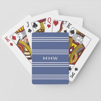 Marine Blue Stripes custom monogram playing cards