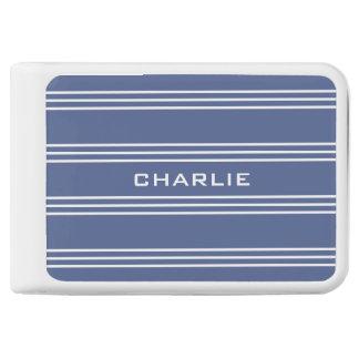 Marine Blue Stripes custom monogram power bank